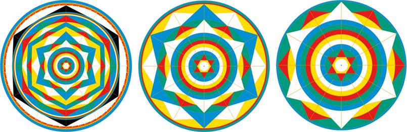 Три мандалы: Вселенной, Солнечной системы и Земли
